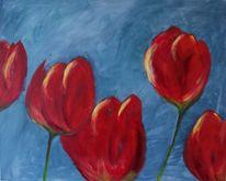 Blau, Blumen, Tulpen, Rot
