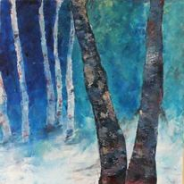 Wald, Lichtung, Blau, Rot