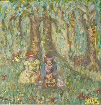 Frau, Baum, Wald, Acrylmalerei