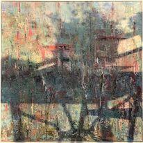Pflanzen, See, Häuser, Malerei
