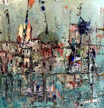 Boot, Häuser, Malerei