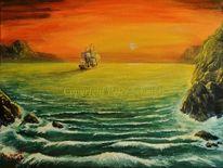 Sonnenuntergang, Welle, Gelb, Acrylmalerei