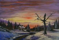 Winter, Landschaft, Acrylmalerei, Gemälde
