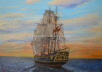 Malerei, Geschichte, Orange, Boot