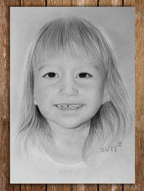 Portraitzeichnung, Niedlich, Bleistiftzeichnung, Kind