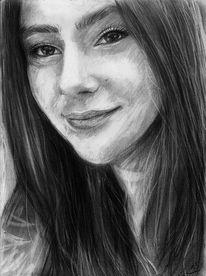 Frau, Kohlezeichnung, Zeichnung, Haare