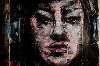 Portrait, Schwarz, Fahren, Kreide