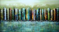 Stadt, 3d, Skyline, Malerei