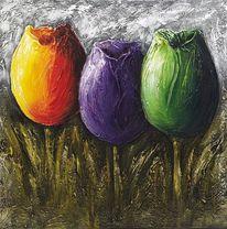 Acrylmalerei, Tulpen, Modern, Blumen