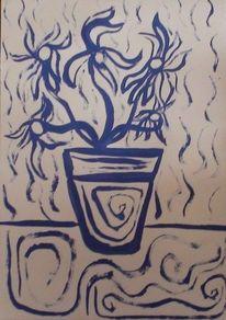 Malerei, Acrylmalerei, Abstrakt, Blumen