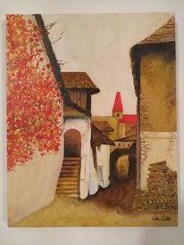 Landschaft, Herbst, Ölmalerei, Wachau