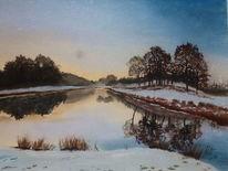 Landschaft, Wasser, Malerei, Lago