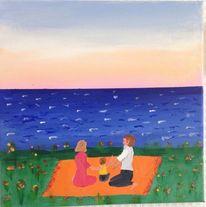 Picknick, Meer, Landschaft, Paar