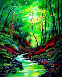 Fluss, Malerei, Schlucht, Baum