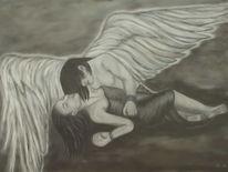 Malerei, Acrylmalerei, Engel, Schutzengel