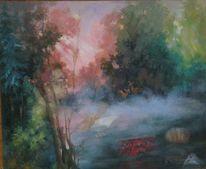 Idylisch, Verbergen, Fantasie, Acrylmalerei