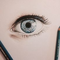 Realismus, Bleistiftzeichnung, Blau, Malerei