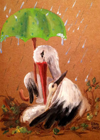 Malerei, Zeichnung, Storch, Aquarellmalerei