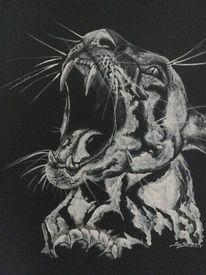 Acrylmalerei, Schwarz weiß, Katze, Ozelot