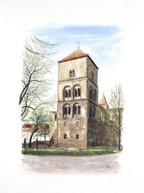 Bad hersfeld, Katharinenturm, Stiftsruine, Aquarell