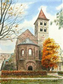 Herbst, Stiftsruine, Hersfeld, Aquarell
