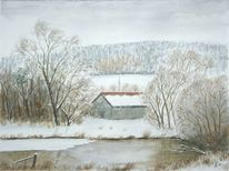 Winter, Aquarell, See