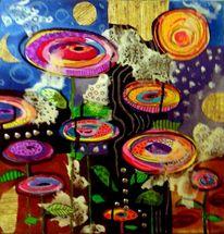 Psychoblumen, Abstrakt, Malerei, Acrylmalerei