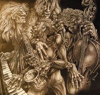 Figur, Musiker, Federzeichnung, Zeichnung