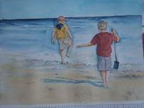 Landschaft, Sommerferien, Kinder am wasser, Aquarellmalerei