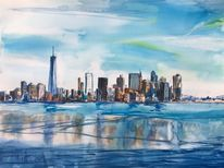 Skyline, New york, Aquarellmalerei, Aquarell