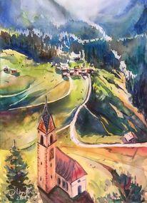 Tal, Südtirol, Berge, Aquarellmalerei