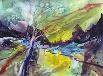 Landschaft, Berge, Abstrakt, Grün