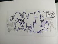 Graffiti, Zeit, Mischtechnik