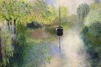 Frühling, Fluss, Boot, Malerei