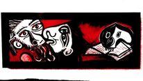 Abstrakt, Figural, Malerei, Rot schwarz