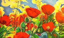 Blumen, Rot, Mohn, Acrylmalerei