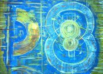 Blau gold, Malerei