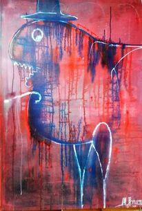 Blau, Rot, Zerlaufen, Malerei