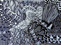 Zeichnung, Schwarz weiß, Streifen, Gekritzel