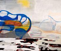 Abstrakte malerei, Jim harris, Blau, Japan
