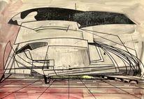 Acrylmalerei, Futurismus, Technologie, Modern