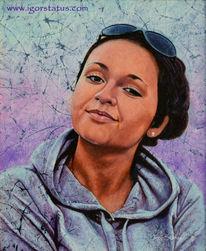 Gesicht, Frau, Ölmalerei, Dame