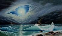 Meer, Schiff, Himmel, Storm