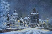 Winter, Schnee, Prag, Nacht