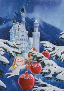 Weihnachten, Neuschwanstein, Engel, Illustrationen