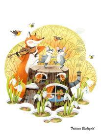 Postkarten, Illustration, Kinderillustrationen, Fuchs