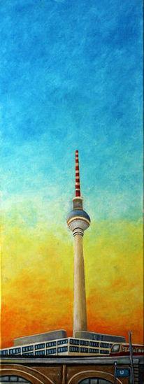 Sonne, Berliner fernsehturm, Malerei, Fenster