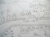 Auto, Tannenbaum, Straße, Zeichnungen