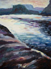 Ufer, Fjord, Felsen, Malerei