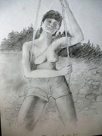 Schaukel, Mädchen, Frau, Zeichnungen